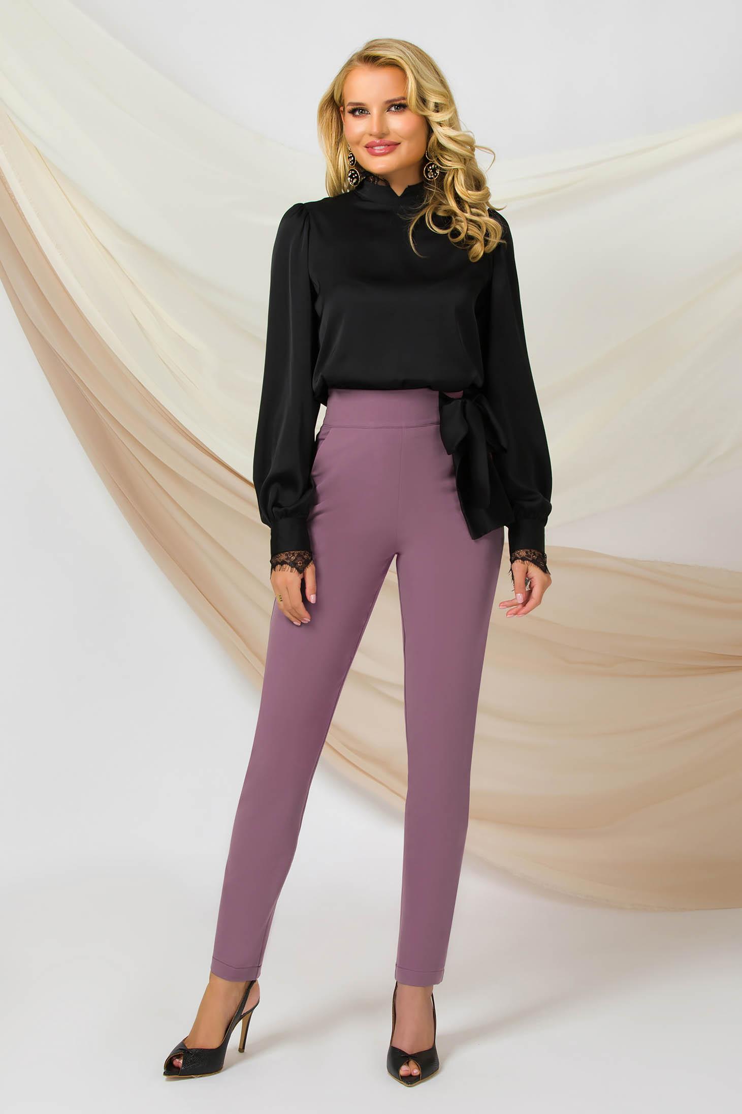 Pantaloni PrettyGirl roz prafuit conici cu talie inalta office din material usor elastic care se leaga cu o funda satinata