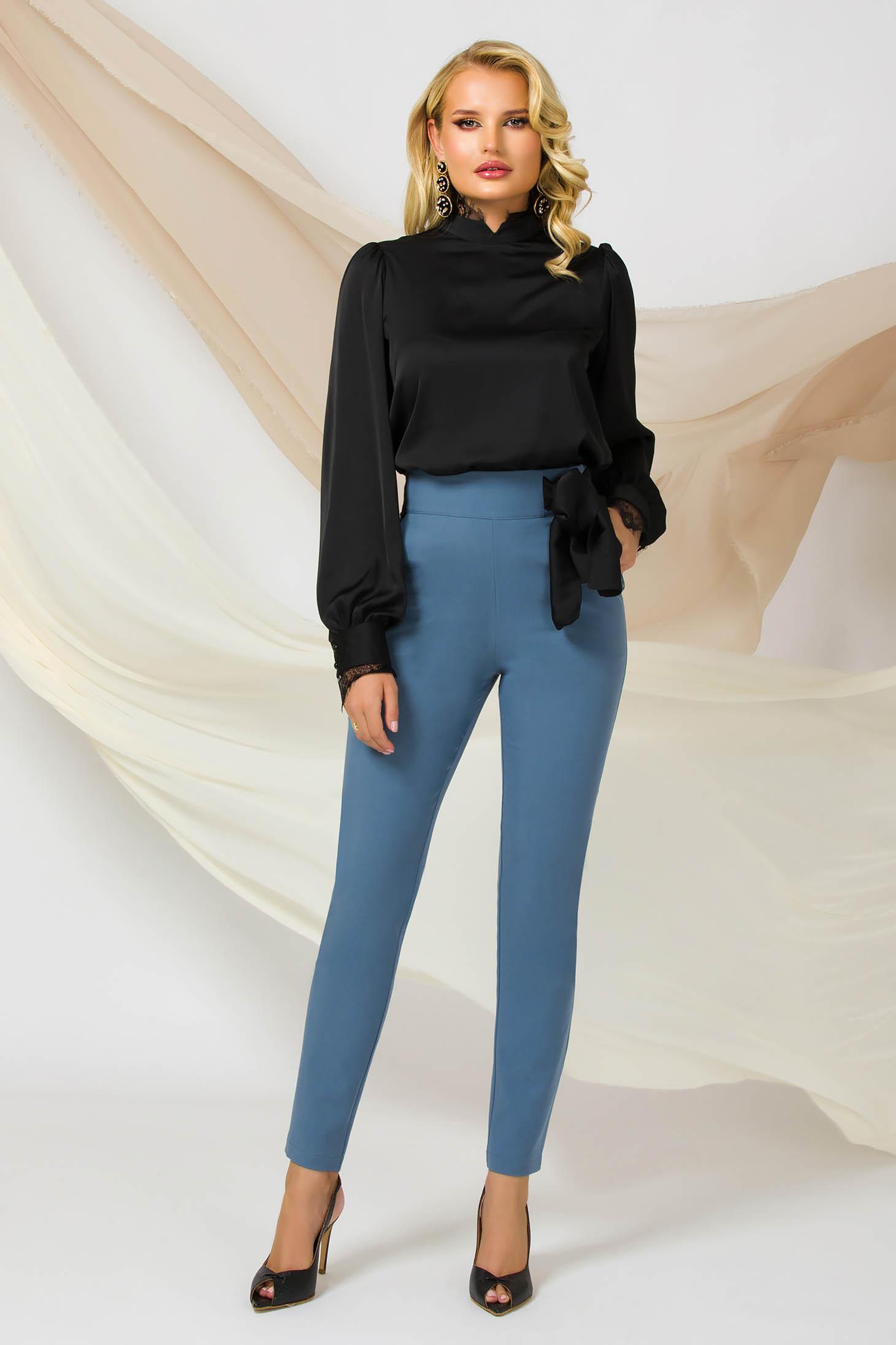 Kék Fekete kónikus magas derekú irodai nadrág enyhén rugalmas anyagból szatén masnival