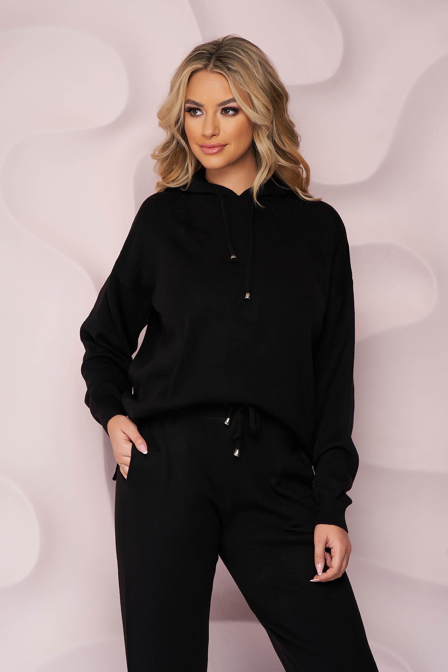 Trening SunShine negru sport cu talie normala din material tricotat si elastic cu buzunare laterale
