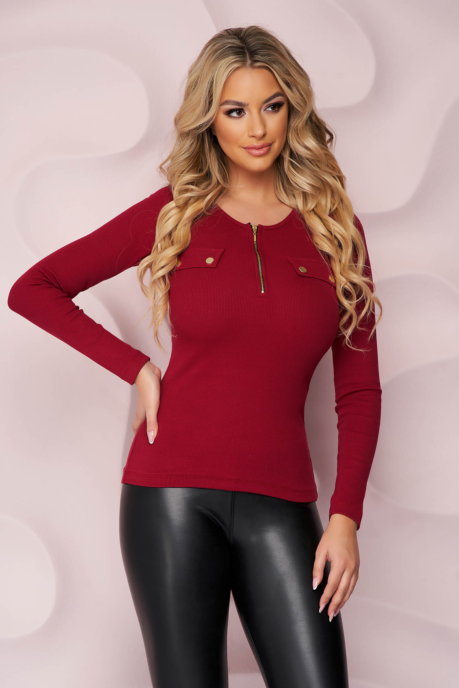 Burgundy women`s blouse cotton from striped fabric tented zipper closure blouse closure with gold buttons