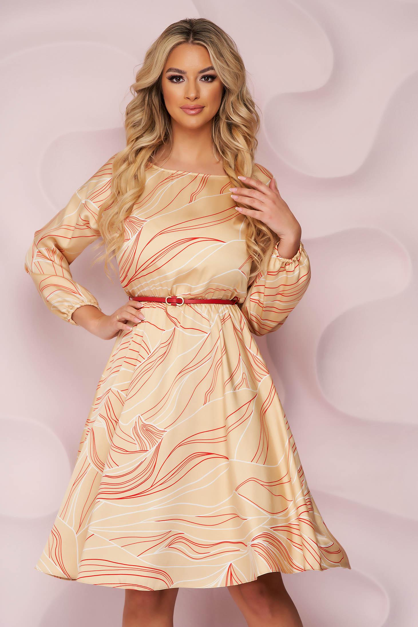 StarShinerS harang alakú irodai midi ruha, gumirozott derékrésszel, merevitett szatén anyagból szintetikus bőr övvel