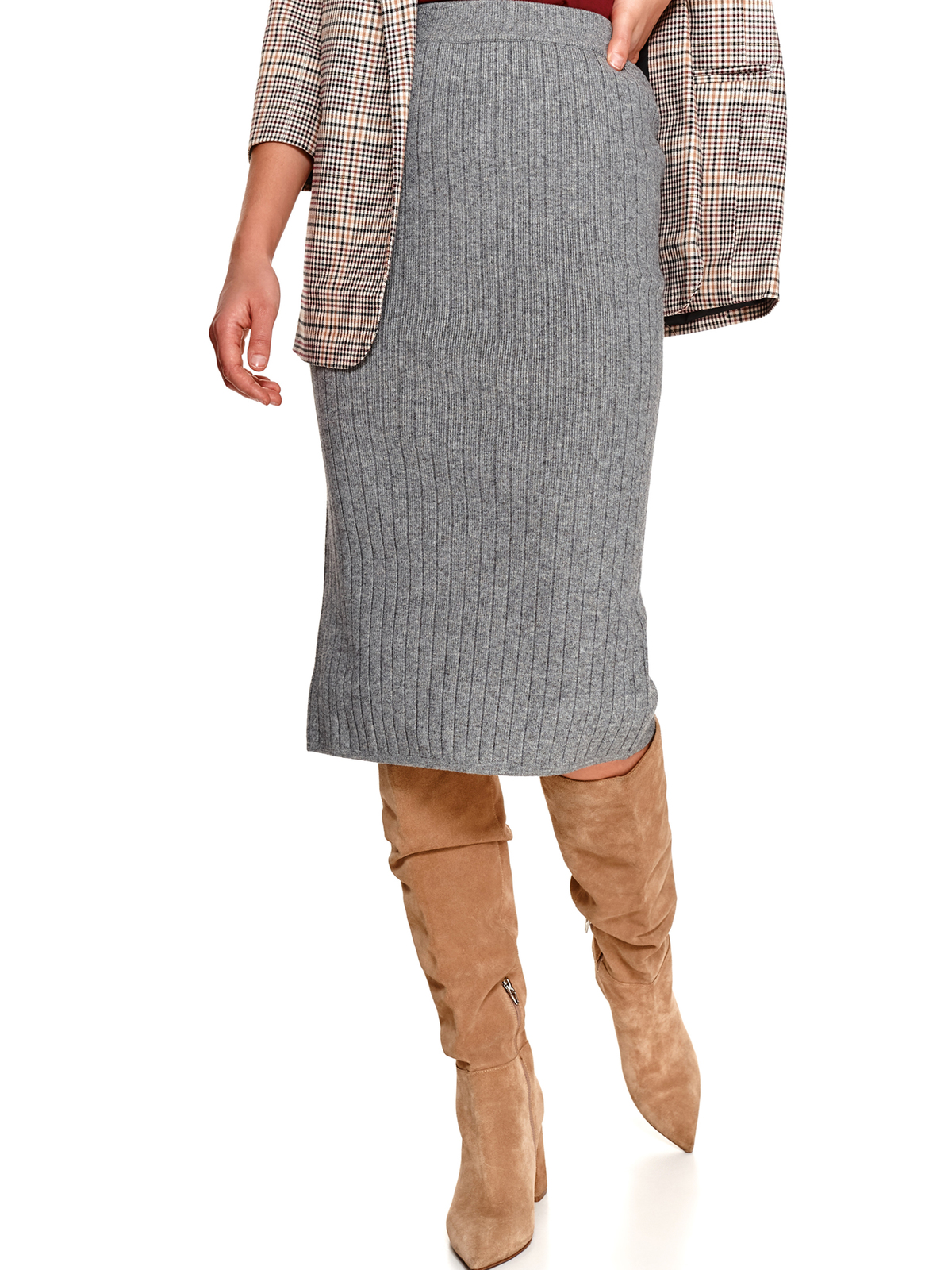 Fusta Top Secret gri midi tip creion cu talie inalta din material tricotat si elastic cu slit la spate