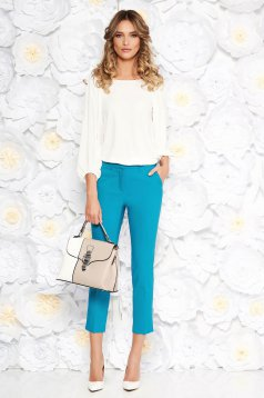 b152dafe6f024f White office flared women`s blouse airy fabric elastic held sleeves